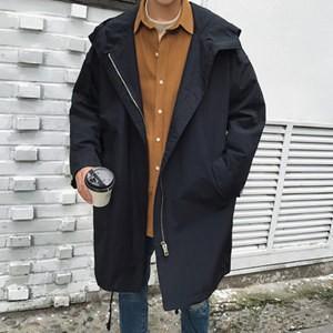 トレンチコート メンズ 長袖 ロング丈 無地 フード付き アウター ロングコート ゆったり 中綿入れ 厚手 防寒 暖かい あったか 秋物 冬物 新作|annyshop