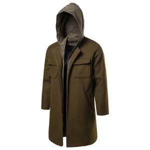 チェスターコート トレンチコート メンズ 長袖 アウター ロングコート フード付き 重ね着風 防寒 暖かい あったか おしゃれ 秋物 冬物 新作|annyshop