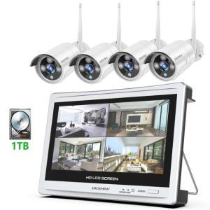 最新WiFi強化版 防犯カメラセット 12インチオールインワンモニター 200万画素 1080P N...