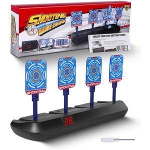 おもちゃ 電子ターゲット 4ターゲット 電子銃射撃ターゲット 自動リセット機能 電子スコアリング ナ...