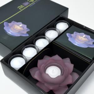 癒しの世界 浄蓮花 じょうれんか パープルルミナスコースターセット 進物ろうそく LED|ansindo