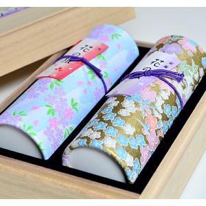 進物線香 奥野晴明堂 花くらべ2種 花の旅 桜・花の旅梅 和柄スタンド2本入り 桐箱|ansindo