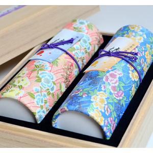 進物線香 奥野晴明堂 花くらべ2種 椿TSUBAKI 和柄スタンド2本入り 桐箱|ansindo