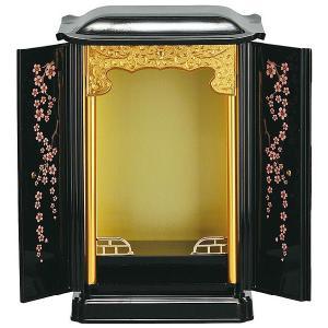 厨子型 桜の花 送料無料 厨子型ミニ仏壇 大サイズ 黒内金 蒔絵桜の花 置き型仏壇 厨子型仏壇 コンパクトサイズ|ansindo