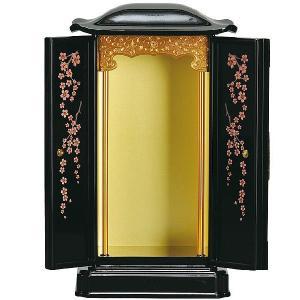 厨子型 桜の花 送料無料 厨子型ミニ仏壇小サイズ 黒内金 蒔絵桜の花 置き型仏壇 厨子型仏壇 コンパクトサイズ|ansindo