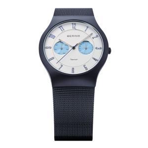 ベーリング 腕時計 11939-394 ホワイト×ブルー×ネイビー メンズ BERING Mens Sapphire Glass Titanium 時計 バレンタイン