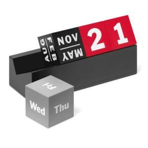 年が変わっても何度でも何年でも繰り返し使えるMoMAのキューブカレンダー。カレンダーの日付は、カラフ...
