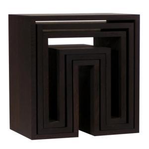 アボード ネスティングテーブル 3個セット ダーク リビングテーブル  abode オーディオ 机 ...