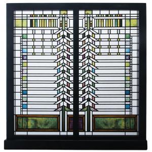 フランク・ロイド・ライトの建築・装飾デザインをモチーフにしたアートグラス。ニューヨーク州バッファロー...