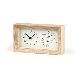 レムノス FRAME 温湿度計付 ブラウン LC13-14 NT 置き時計|antdesignstore