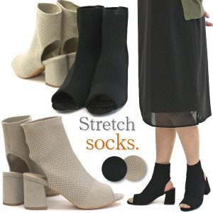 ブーティーサンダル ストレッチソックス 靴 レディース 歩きやすい オープントゥ|antelope