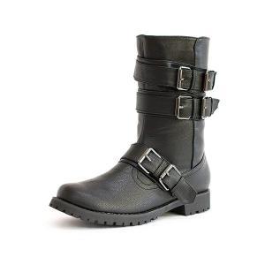 エンジニアブーツ 靴 レディース 歩きやすい ミリタリーブーツ  ベルト ミドルブーツ|antelope