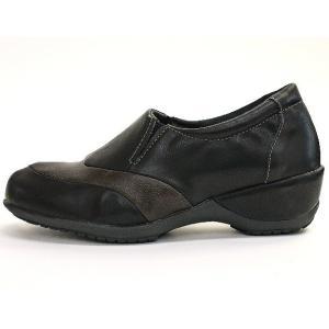 靴 レディース 歩きやすい スリッポンシューズ コンフォート ラウンドトゥ バイカラー ウェッジソール|antelope|11
