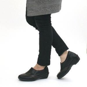 靴 レディース 歩きやすい スリッポンシューズ コンフォート ラウンドトゥ バイカラー ウェッジソール|antelope|04