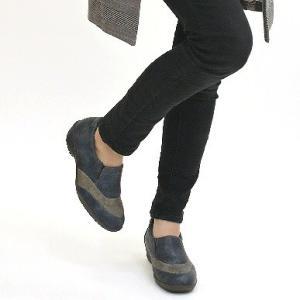 靴 レディース 歩きやすい スリッポンシューズ コンフォート ラウンドトゥ バイカラー ウェッジソール|antelope|05