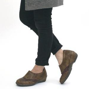 靴 レディース 歩きやすい スリッポンシューズ コンフォート ラウンドトゥ バイカラー ウェッジソール|antelope|06