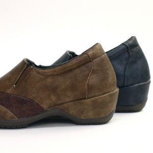 靴 レディース 歩きやすい スリッポンシューズ コンフォート ラウンドトゥ バイカラー ウェッジソール|antelope|08