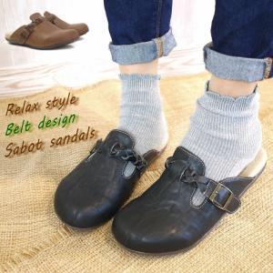 サボ靴 フラットシューズ レディース ベルト