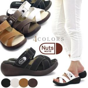 『Nuts world』(ナッツワールド) ローリングサンダル 靴 レディース 歩きやすい ベルクロ 厚底 コンフォートサンダル|antelope