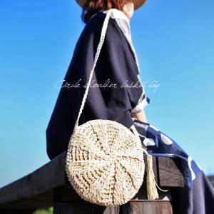 バッグ 鞄 ショルダー 麦わら 軽量 麦わらポーチショルダー・(100)メール便可|antiqua