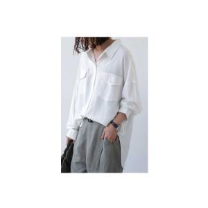 トップス シャツ 長袖 レディース レーヨン ゆったり フラップポケットシャツ・1月11日20時〜発売。(80)メール便可 antiqua 13