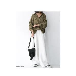 トップス シャツ 長袖 レディース レーヨン ゆったり フラップポケットシャツ・1月11日20時〜発売。(80)メール便可 antiqua 08