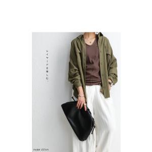 トップス シャツ 長袖 レディース レーヨン ゆったり フラップポケットシャツ・1月11日20時〜発売。(80)メール便可 antiqua 10