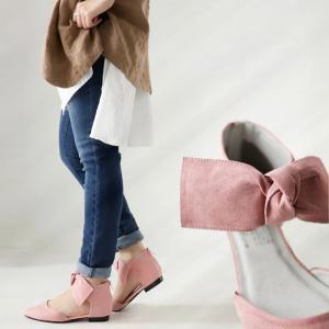靴 リボン パンプス ペタンコ 大人 デザインリボンパンプス・再再販。##メール便不可|antiqua