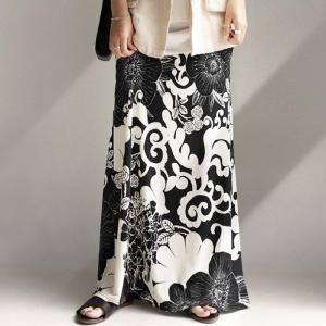 ロングスカート マキシ リブ 花柄 和柄 花柄ロングスカート・再再販。メール便不可|antiqua
