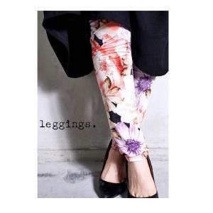 レギンス インナー 花柄 ボトム 上品 花柄レギンス・再販。「G」メール便可|antiqua
