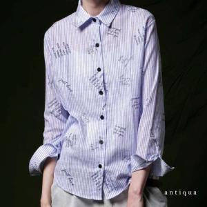トップス シャツ カジュアル 綿 シンプル ストライプ&文字柄シャツ・再販。「G」(50)メール便可|antiqua