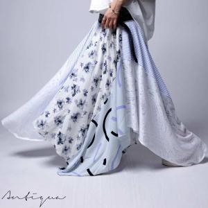 スカート 柄 花柄 ストライプ 変形 柄切替え変形スカート・再販。##「G」メール便不可|antiqua
