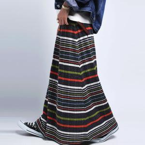 ボトムス スカート ボーダー ニットスカート マルチボーダーリブスカート・12月15日20時〜発売。##メール便不可|antiqua