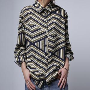 トップス シャツ 長袖 柄シャツ 幾何学柄 総柄 アンティカ 幾何学柄シャツ・3月6日20時〜発売。(50)メール便可|antiqua