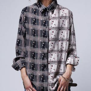 トップス シャツ 長袖 バイカラー チェック柄 総柄 柄切替シャツ・3月6日20時〜発売。(50)メール便可|antiqua