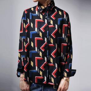 トップス シャツ 透け感 長袖 幾何学柄 アンティカ 幾何学柄シャツ・(50)メール便可|antiqua