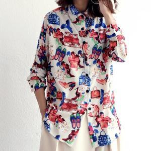 トップス シャツ 長袖 柄 透け感 レディース アート柄シャツ・7月6日20時〜再販。(50)メール便可|antiqua