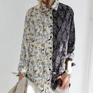 トップス シャツ 長袖 花柄 ペイズリー柄 切り替え 柄切替シャツ・6月1日20時〜再販。(50)メール便可|antiqua