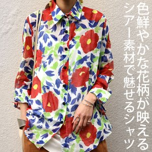 トップス シャツ 長袖 透け感 総柄 花柄シャツ・6月1日20時〜再再販。(30)メール便可|antiqua