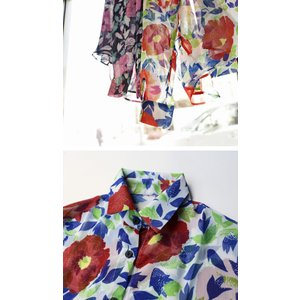 トップス シャツ 長袖 透け感 総柄 花柄シャツ・6月1日20時〜再再販。(30)メール便可|antiqua|06