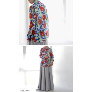 トップス シャツ 長袖 透け感 総柄 花柄シャツ・6月1日20時〜再再販。(30)メール便可|antiqua|08