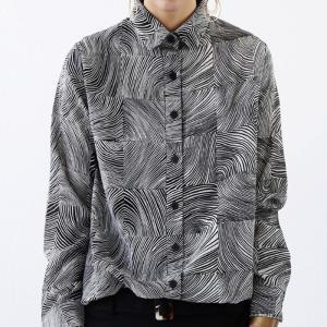 トップス シャツ 長袖 レディース 総柄 モノトーン 幾何学チェックシャツ・(80)メール便可|antiqua