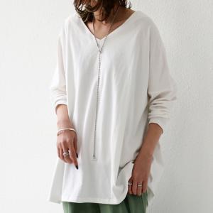 空気を纏うように、ゆるく。cottonドルマンロンT・2月12日20時〜再再販。直感で選びたい。ドルマンと綺麗Vネックで作る美差。「G」(100)メール便可|antiqua|13