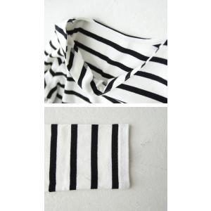 トップス カジュアル 綿 フライス 上品 ボーダーVネック綿ロンT・再販。「G」(100)メール便可|antiqua|05