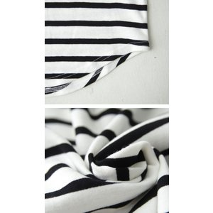 トップス カジュアル 綿 フライス 上品 ボーダーVネック綿ロンT・再販。「G」(100)メール便可|antiqua|06