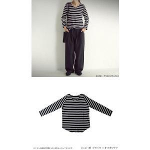 トップス カジュアル 綿 フライス 上品 ボーダーVネック綿ロンT・再販。「G」(100)メール便可|antiqua|09