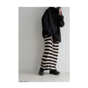 ボトムス スカート ロング レディース ニット ロング ボーダーIラインスカート・##メール便不可|antiqua|09