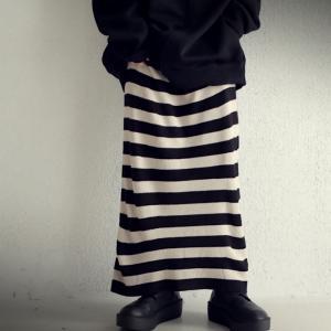 ボトムス スカート ロング レディース ニット ロング ボーダーIラインスカート・##メール便不可|antiqua|10