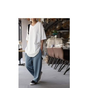 トップス カットソー 半袖 五分袖 綿 綿100% ポケット ポケ付きビッグT・5月23日20時〜再再販。80ptメール便可|antiqua|12