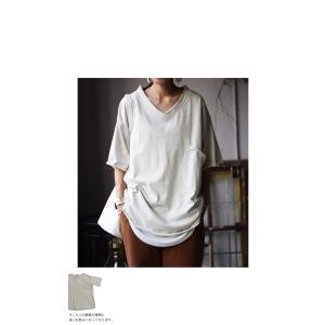 トップス カットソー 半袖 五分袖 綿 綿100% ポケット ポケ付きビッグT・5月23日20時〜再再販。80ptメール便可|antiqua|16